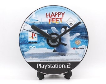 Happy Feet PlayStation 2 PS2 Upcycled CD Disc Clock Video Game Gift Idea