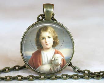 Child Jesus with  Sheep Pendant with antique gold chain-24 inches - Child Jesus Necklace
