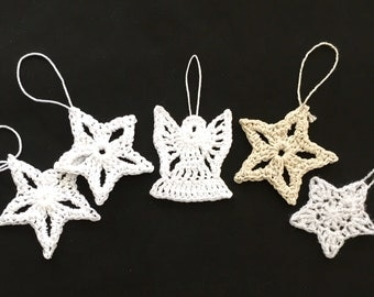 Crocheted Ornaments, Set of 5, Christmas Ornaments, Star Ornament, Angel Ornament,