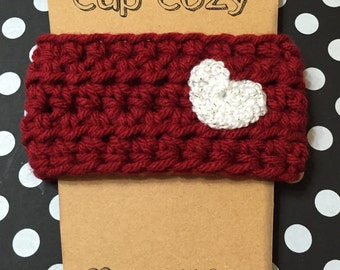 Heart Coffee Sleeve, Coffee Cozy Heart, Crocheted Coffee Cozy, Coffee Sleeve, To-Go Cup Cozy