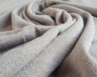 Soft Knit Fabric in a Fawn and Beige Melange - UK Seller