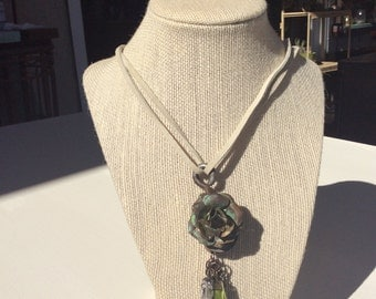 Rustic antique Metal Pulley Necklace, Green and White