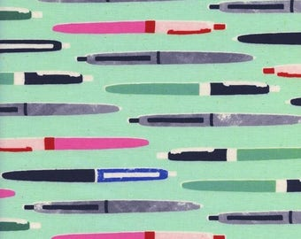 Trinket Pens in Aqua from Trinket - 1/2 Yard - Melody Miller for Cotton and Steel