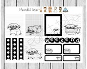 Weekly sticker set - sketchy pugs - planner stickers