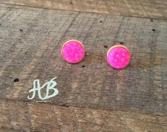 Druzy Earrings- Hot Pink