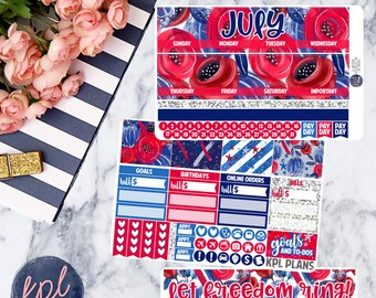 July Monthly Planner Sticker Kit. Perfect for Erin Condren Life Planners! JULY