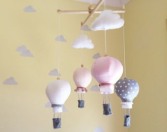 Hot air balloon mobile- baby mobile- cot mobile- nursery mobile- baby girl mobile- pink and grey- crib mobile- hot air balloon mobile