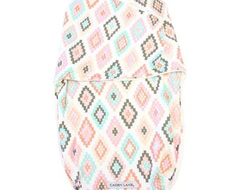 Alexis's Aztec Swaddle Wrap | Blush & Aqua Tribal Baby Swaddle