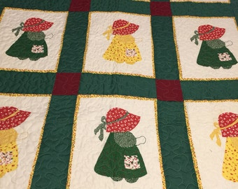 Vintage cheater fabric Son Bonnet Sue newly Quilted lap Quilt