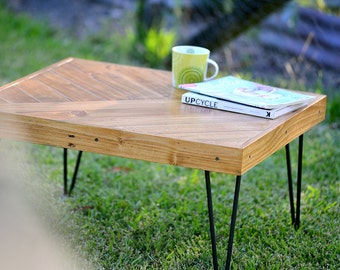 Rustic Coffee Table, Reclaimed Wood Coffee Table, Hair Pin Legs, Recycled Timber Table