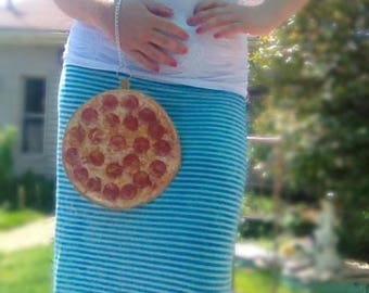 Pizza purse wristlet handbag funny purses bags chain food cheese pizza