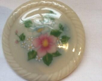 Vintage Avon Pin / Avon Brooch / Signed Avon / Porcelain pin / Flowered avon pin