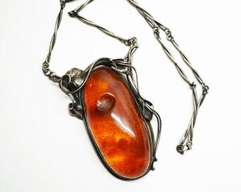 Huge Vintage Necklace Handmade Baltic Amber, 100 g