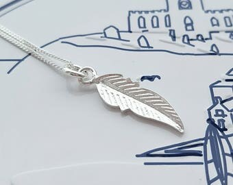 Silver Feather Necklace, Sterling Silver, Feather Jewellery, Remembrance Necklace, Feather Charm, Boho Necklace, Gift For Her