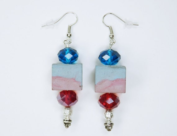 Earrings made of bluish and reddish concrete with pearls on silver pendant earrings concrete jewelry red blue concrete cubes
