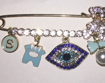 Stroller pin.  Beautiful good luck pin.  Evil Eye Pin.  Hamsa.  Baby pin.  Baby brooch. Baby gift.  Personalized gift.