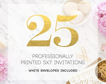 25 PRINTED INVITATIONS including white envelopes