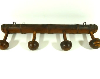 Coat Rack, French Vintage Faux Bamboo Coat Rack, Wooden Coat Rack, French Home Decor, Rustic Hat Rack
