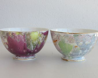 Two Antique  Italian Made Irridescent Bowls