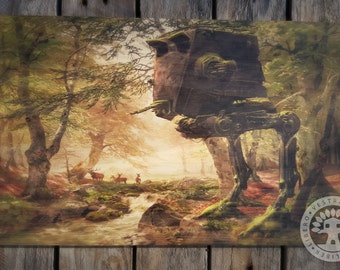 Star Wars: Abandoned AT-ST in the Forest Woodblock Art