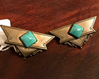 Vintage brass turquoise clip on earrings