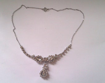 vintage silver coloured tear drop necklace