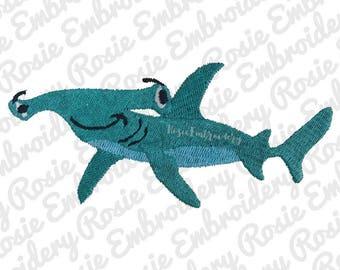 Hammerhead Shark Embroidery Design Instant Download Digital Pattern - Cartoon Hammer head Water Sea Ocean Swimming Animal - RE53