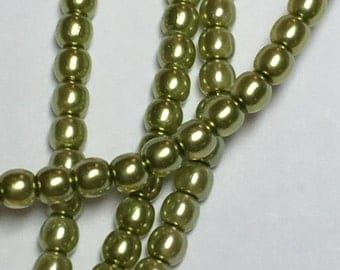 2mm Round glass pearls, Olivine, 150 beads