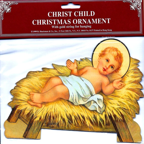 Baby jesus in manger christmas ornament decoration for Baby jesus christmas decoration