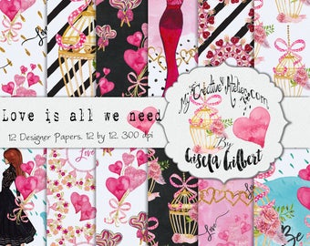 Valentines Digital Paper. Printable patterns planner stickers