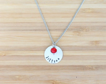 hand stamped necklace   name + birthstone