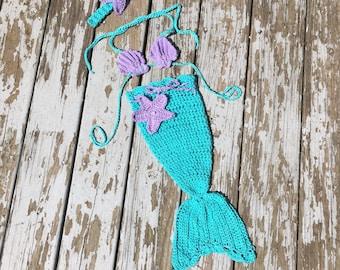 Mermaid photo prop, mermaid costume, baby mermaid outfit, crochet mermaid