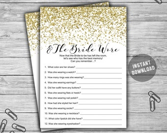 Gold - And The Bride Wore - Bridal Shower - Game - Cards - PRINTABLE - INSTANT DOWNLOAD - Gold - Confetti - Bridal Shower Game - L37