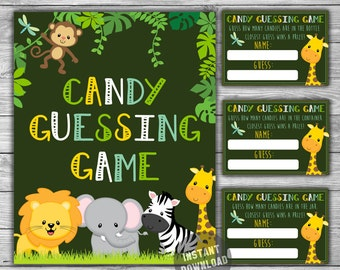 Baby Shower - Jungle - Safari - Candy Guessing Game - Printable - Instant Download - Guess How Many Candies - Bottle - Jar - Container - 063