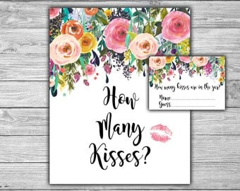Floral - Bridal Shower - How Many Kisses - Are In The Jar - Game - Cards - Sign - PRINTABLE - INSTANT DOWNLOAD - Shabby Chic - L08