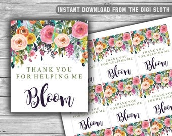 Thank You For Helping Me Bloom - Tag - Thank You Tags - Teacher Appreciation - Teacher - Gift - Tag - INSTANT DOWNLOAD - PRINTABLE - T01