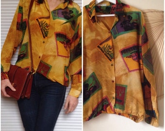 Blouse in silk vintage 90 s mustard yellow patterned stamps (M - 38)