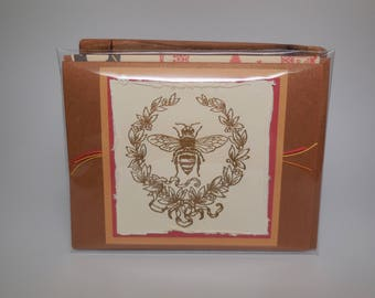 Greeting Card ~ Gold embossed Bee