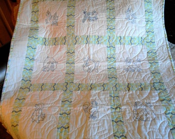 Baby's Quilt -  Bluework with flannel backing