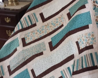 Teal and Brown Shadowbox Quilt