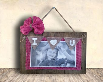 Photo Frame Sign - Nursery Sign - Picture Frame with Burlap Bow - Hand Painted - Wood Sign - Nursery Decor - Gift Idea for Him or Her