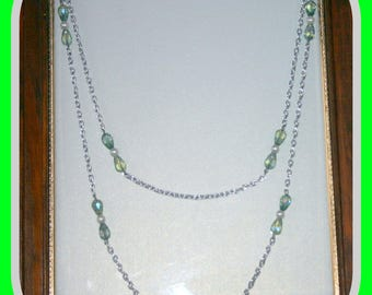 Long Silver Chain Necklace with Clear Beads and Glass Green Beads