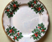 """Ucagco holly berry lusterware 7 3/4"""" plate with gold rim"""