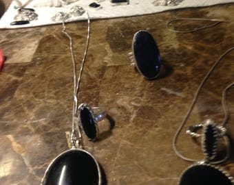Oynx pendant and ring sets