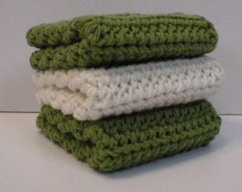 Handmade Crochet Cotton Dishcloths or Washcloths, 3-Pk, 2 Sage Green, 1 Cream  (#2049)