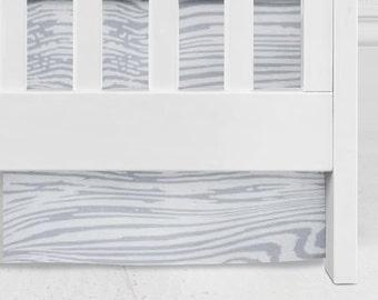 Woodland neutral Woodgrain Crib Skirt, woodgrain, woodland, baby bedding, crib bedding, neutral, wood design crib, baby bedding, cotton