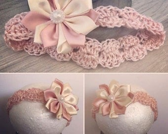 Peach baby flower headband
