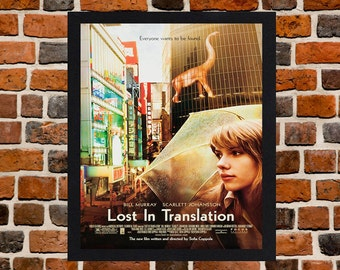 Framed Lost In Translation Bill Murray & Scarlett Johansson Movie / Film Poster A3 Size Mounted In Black Or White Frame