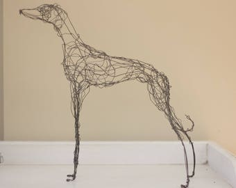 Black iron wire greyhound/lurcher/sighthound figure/sculpture