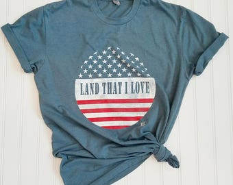"UNISEX ""Land That I Love"" Crew Neck Indigo Blue or Navy Tee, Usa Tshirt, Patriotic tshirt, Usa tee shirt, Usa tshirts, Usa shirt, USA shirts"